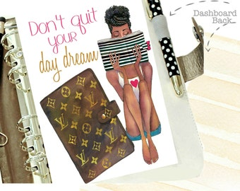 2107 Planner Dashboard, Dark Skin Tone Girl Louis Vuitton Planner Dashboard Binder with DAY DREAM Quote, A5 Dashboard, Personal Planner
