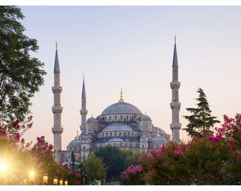 The Blue Mosque, Istanbul Turkey, travel photography, fine art photography, Istanbul art print, Turkey home decor, 16x24