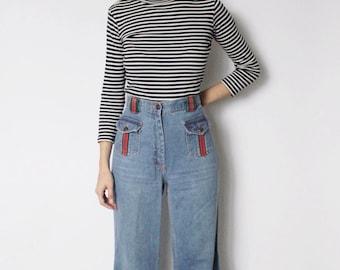 Vintage 1970s Bell Bottom Jeans 29.5 | 70s Denim Jeans | High Waist Bell Bottoms | High Waist Jeans