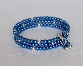 Ladies Bracelet, Glass Pearls, Triple Wrap Bracelet, Beaded Memory Wire, Wrap Bracelet, Memory Wire Bangle, Bracelet, Bangle, Jewellery