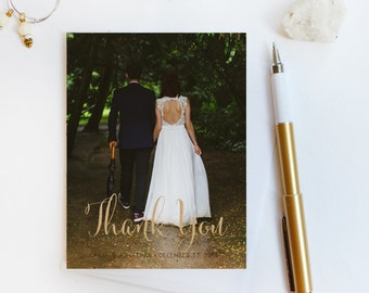 Wedding Thank You Card, Custom Photo Wedding Thank You Cards Gold Foil Wedding Thank You Cards Vintage Gold Foil Wedding Cards Sarah6