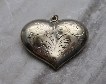 Vintage Large Sterling Silver Heart Pendant, puff heart pendant, silver etched heart pendant, estate jewelry, gifts for her, Retro jewelry