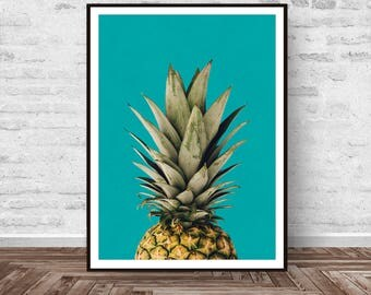 Pineapple Print, Pineapple Wall Art, Tropical Print, Kitchen Print, Turquoise Print, Modern Wall Art, Wall Art Blue, Instant Download