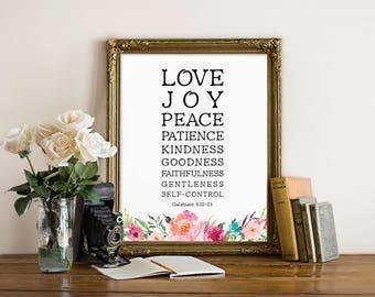 Bible Verse Wall Art, The Fruit Of The Spirit Is Love, Joy, Peace, Galatians 5:22, Bible Quote, Scripture, Bible Verse Print, Quotes, Prints