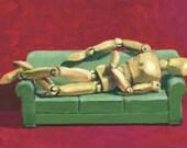 Reclining Nude- matted print of an original acrylic painting by Greta Watkins
