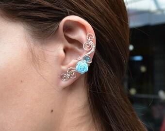 Ear cuffs no piercing Cute earrings Flower earrings Curved ear cuffs Ear wrap Bohemian ear cuff Ear jacket Flower girl earrings Gift for her