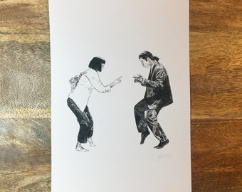 Print of Original Illustration of Mia Wallace and Vincent Vega from Pulp Fiction Dancing