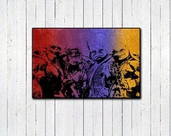 Teenage Mutant Ninja Turtles 11x17 Print, Rainbow Print, 90s Nostalgia, Childrens Shows, Action Movies, Movie Remake