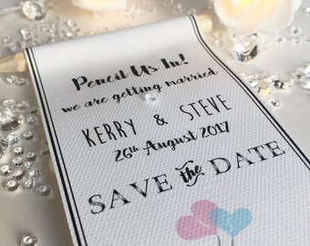 Pencil us in Save the Date tag Invitations with envelopes and pencils