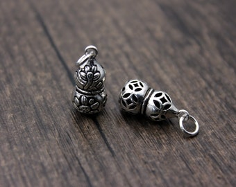 sterling silver gourd pendant, sterling silver gourd charm,hollow gourd pendant