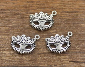 20pcs Mask Charm Antique Silver Tone 19x20mm - SH454