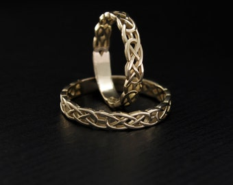 Celtic wedding band set, Celtic pattern wedding rings, Matching celtic wedding bands, Unique wedding rings, His and hers celtic bands