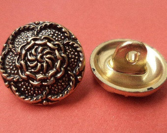 7 metal buttons gold 14 mm (6013) metal buttons flower