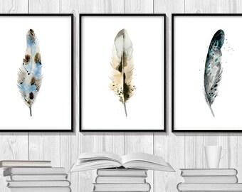 Feathers Watercolor, Feathers Set, Aztec Tribal Print, Bohemian Art, Feather Print, Wall Art, Nursery Decor Watercolor, Brown Wall Art.