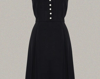 40's 'Dorothy' Dress Inspired Swing Dress in Black with Ivory Collar by The Seamstress of Bloomsbury