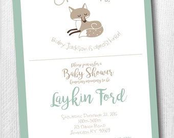 Woodland Baby Shower Invitation with Fox