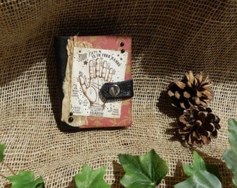 Palmistry Mini Book, Handmade, Journal, Diary, Wicca, Witch Craft, Bookbinding, Miniature Book, Scrapbooking, Palm Reading, Halloween, Gift