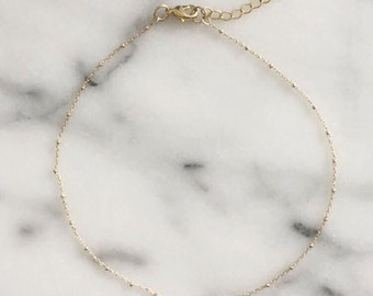 The Bryce Choker - Dainty gold layering choker made with gold satellite chain - thin gold choker - gold necklace - satellite chain