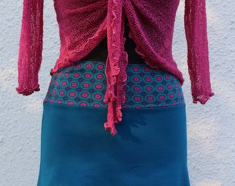 Skirt jersey blue petrol elastic hipskirt pink circle retro size 36, 38, 40, 42