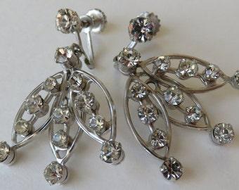 Vintage Rhinestone Dangle Earrings Vintage Costume Jewelry Screw Back Earrings