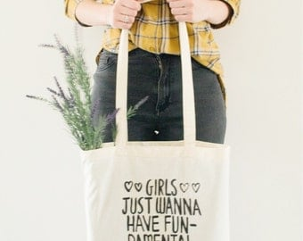 Feminist tote bag, feminism, girls, fundamental right, canvas bag, cotton bag, girl power, tote, woman, women, trump, america, hate trump
