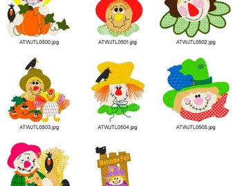 Scarecrows. ( 8 Machine Embroidery Designs from ATW )
