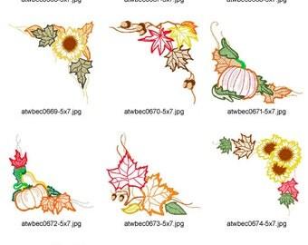 Fall-Time-Corners-5x7. ( 10 Machine Embroidery Designs from ATW ) XYZ17B