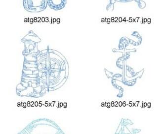 Marine-Bluework 4x4 & 5x7 ( 14 Machine Embroidery Designs from ATW ) XYZ17D