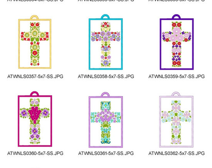 Floral-Crosses-Bookmarks ( 10 Machine Embroidery Designs from ATW )