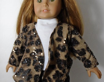 "18"" Doll Clothes fit American Girl Open Cardigan Sweater Jacket with Handkerchief Hemline ANIMALPRINT SPARKLE"