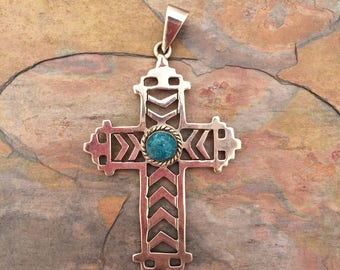 Large sterling silver cross pendant with composite turquoise stone-southwest style-christian jewelry
