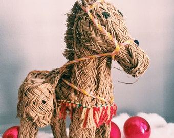 Vintage Rattan + Straw Festive Donkey w/ Clay Jugs / Boho Holiday Decor
