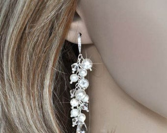 Handmade Swarovski Pearl and Crystal Dangle Bridal Earrings, Bridal, Wedding (Pearl-467)