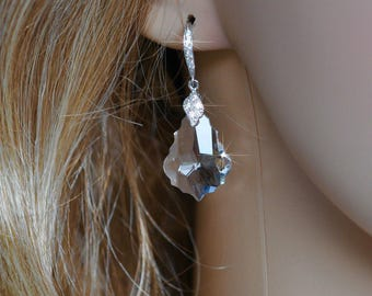 Handmade Swarovski Baroque Crystal Clear Dangle Earrings, Bridal, Wedding (Sparkle-2573)