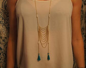 Long Gold Beaded Hanging Chain Necklace With Blue Tassels