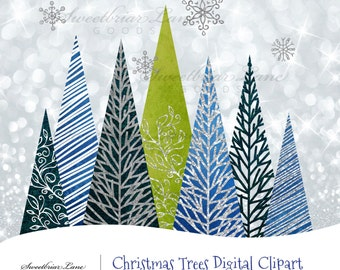 Christmas Trees Digital Clipart for invitations, stationery, scrapbooking, stickers and many more!