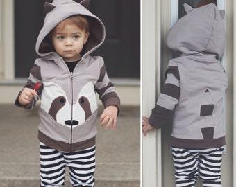 2T Grey Raccoon Hoodie with ears, baby zip Jacket , Animal Sweatshirt, Animal Hoodie ,Toddler jacket , medium weight , Animal Jacket