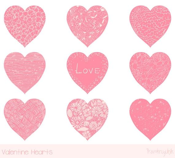 Valentine heart clip art Pink heart clipart Hand drawn heart