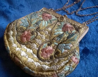 Embroidered Evening Bag, Vintage Handbag, Evening Purse, Collectible, Gift Idea, 1920s Bag, Roaring Twenties, Flapper Girl, Vintage Fashion