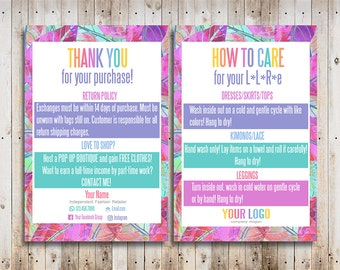 Custom Care Cards Personalized Home Office Approved Font and Colors LuLa Thank You Cards Digital Care Cards LLR Teams
