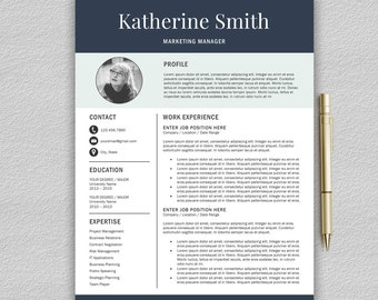 Resume Template | Professional Resume Template for Word | CV Template for Word | One and Two Page Resume | Instant Download Modern Resume