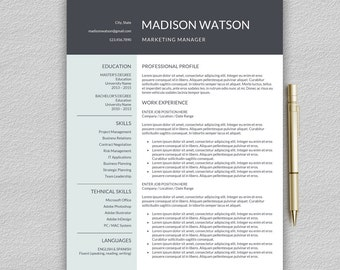 One page resume etsy resume template for word professional resume template cv template for word one page yelopaper Image collections