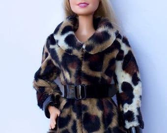 Barbie clothes - Barbie winter coat Barbie leather hat