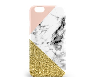 Coque Marbre Rose & Or | PVC | iPhone 4, 4S, 5, 5S, SE, 5C, 6, 6s, 6 Plus, 6s Plus, 7 et 7 Plus, illustration, design, madeinfrance, artmars