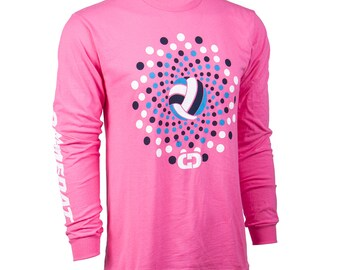 Volleyball Dots Long Sleeve Volleyball T-Shirt, Volleyball Shirts, Volleyball Gift - Free Shipping!