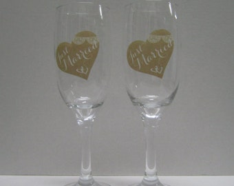 Wedding Toasting Glasses - Just Married, Personalised Champagne Flutes, Custom Champagne Glasses, Set of 2, Wedding Gift