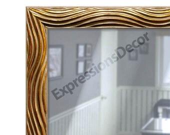 Custom Gold & Silver Swirl Wall Mirror - Flat Glass - FREE SHIPPING