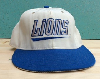 Vintage Detroit Lions 90's Double Logo Made in USA 7 1/8 Wool Fitted Cap