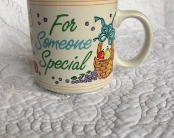 Vintage 'For Someone Special' Fruit Mug - Papel - Aqua Teal Interior