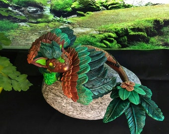 Polymer clay Dragon, forest Dragon, Green Dragon, Wyvern, sheet Dragon